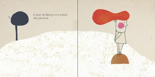 inside pages of book depicting a little boy with red hair staring at the horizon.illustration