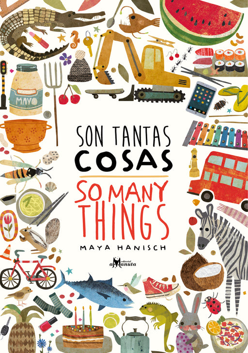 book cover illustrates a variety of animals, objects, and food