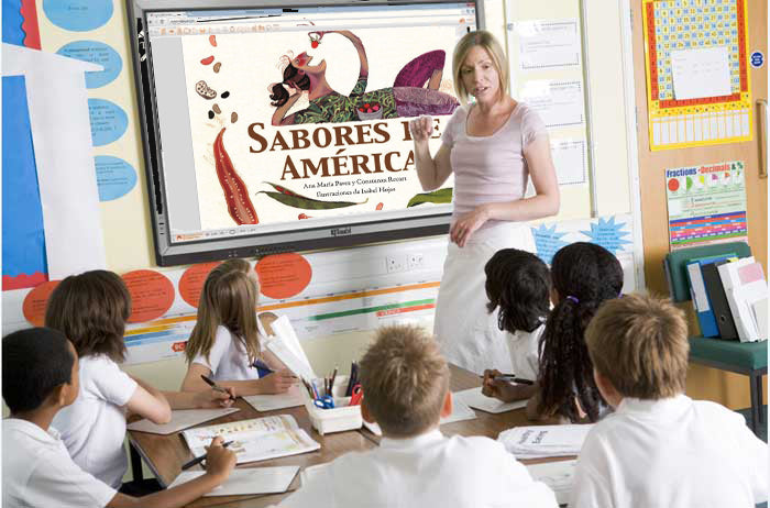 Teacher using ebook in smartboard