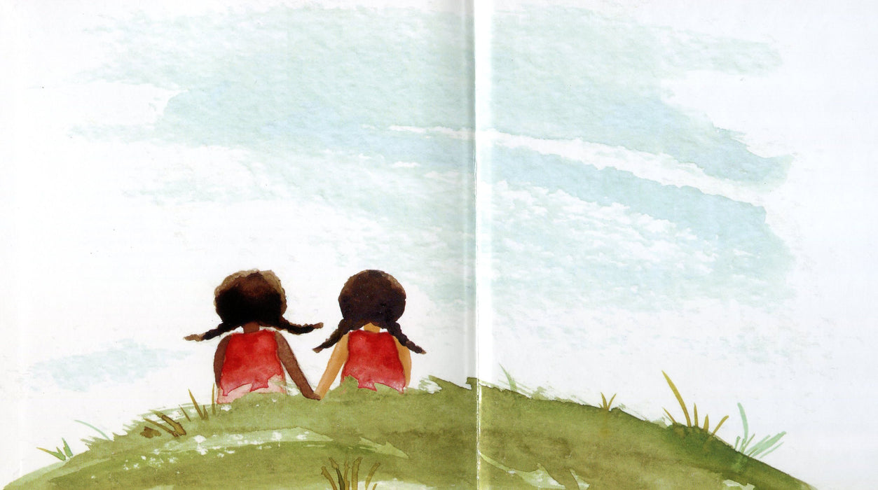 book page illustrates tamika and a girl sitting in grass