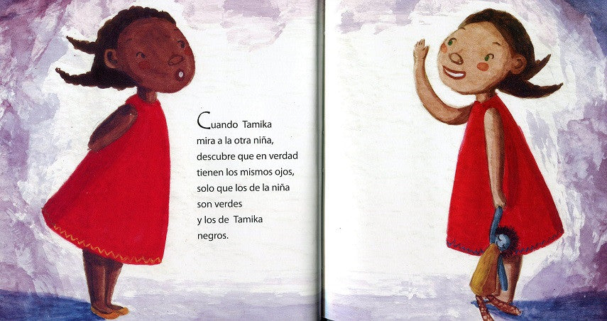 book page illustrates Tamika and a girl with a doll