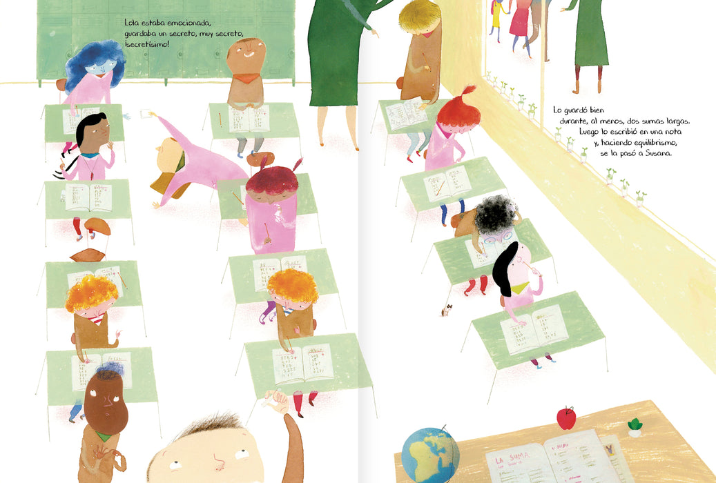 book page illustrates a classroom with children working on classwork