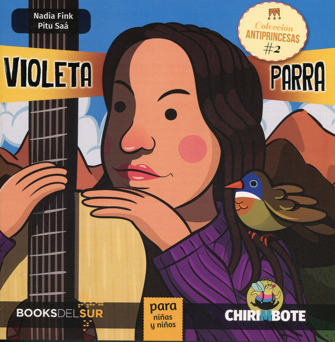 book cover illustrates Violeta Parra with a bird and a guitar