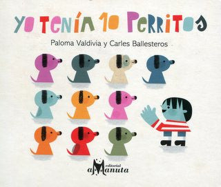 book cover illustrates 10 puppies and a child