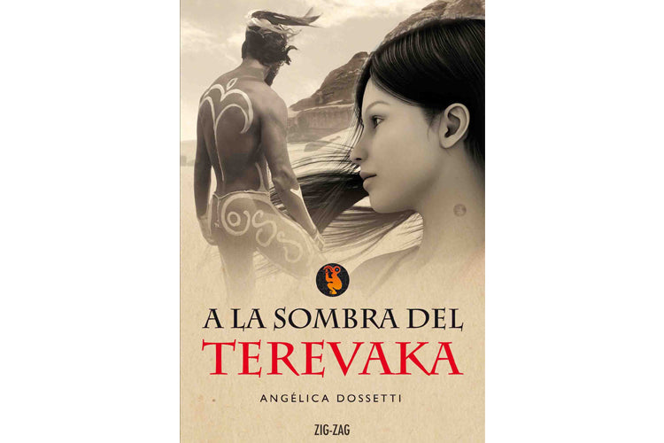 Book cover depicting the face of a girl looking at a Easter Island native with ceremonial body paintings.