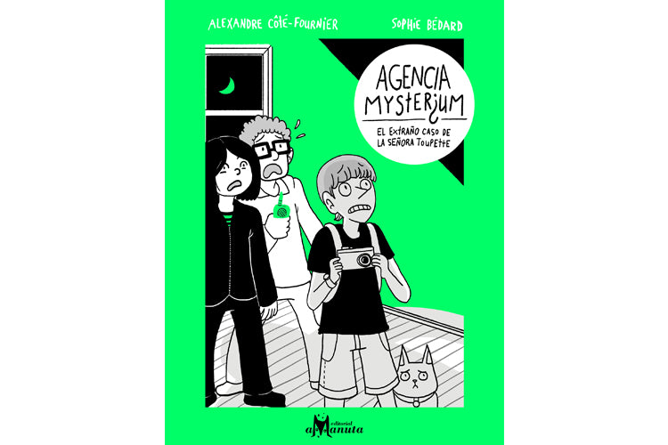 Book cover of Agencia Misterium depicting an illustration of three kids in a room with a dog with surprise faces