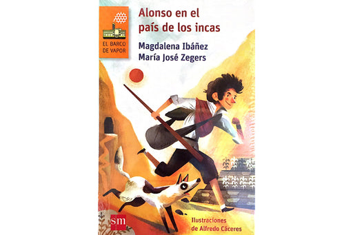 book cover depicting a boy with a dog running between two brown mountains