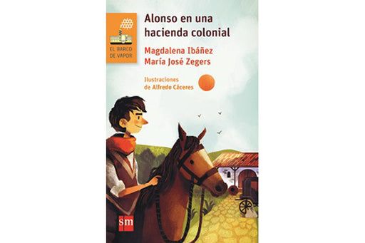book cover depicting a kid riding a horse and an old house in the back