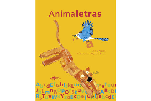 Book cover depicting a bright yellow back ground with illustrations of a bird and a lion