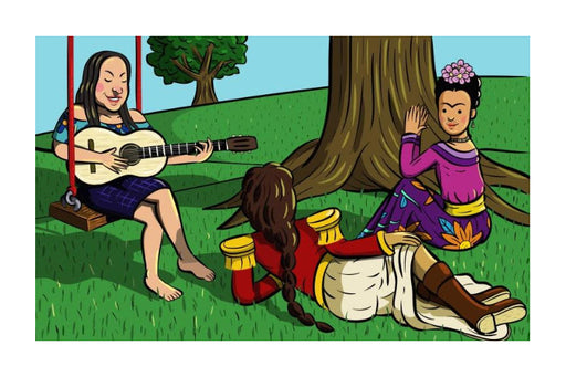 Illustration of three antiprincesas Violeta Parra, Frida Kahlo and Juana Azurduy