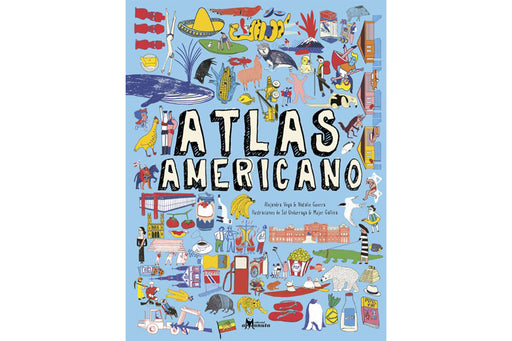 Atlas americano cover depicting a collage of images from animals to vegetables and all sorts of manmade products