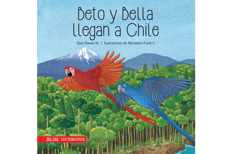 Book cover depicting two macaws flying over an Araucaria forest in Chile