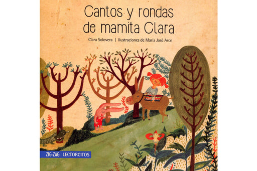 Books cover depicting an illustration of a girl with a donkey and a rabbit in a forest