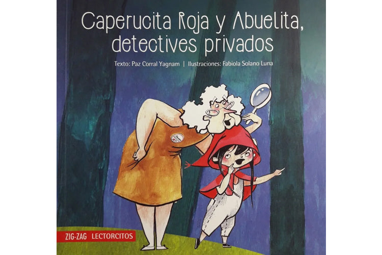 Illustration of Little Red Riding Hood pointing at something in the distance, standing next to her grandmother who is holding a magnifying glass.