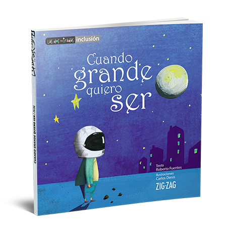Book cover depicting an illustration of a kid with an astronaut helmet staring at the moon