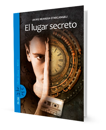book cover shows half a boy's face and half a clock