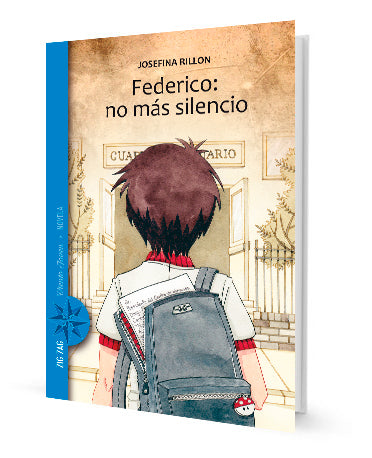 book cover shows a boy with a backpack