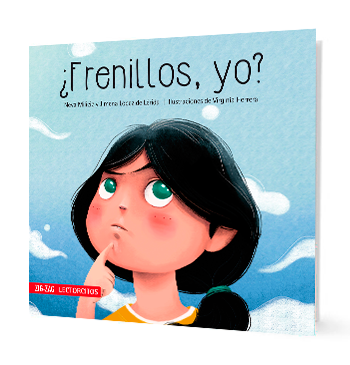 book cover with illustration of a girl thinking with her index finger in her chin