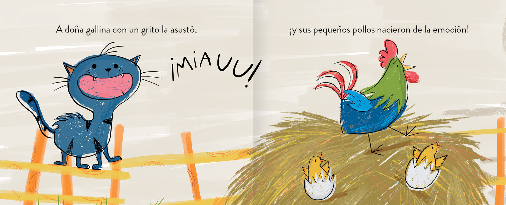 inside pages shows a blue cat and chickens