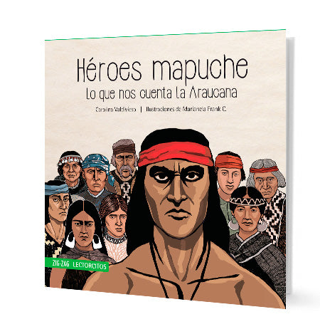 book cover shows a large group of Mapuches