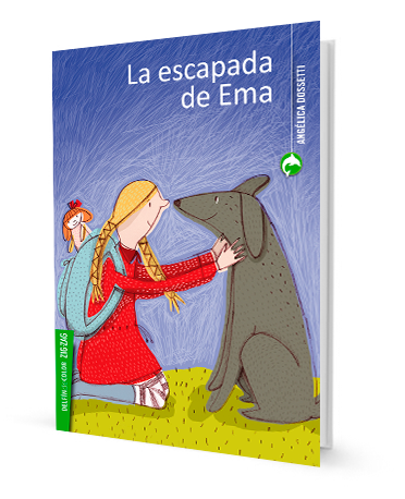 book cover shows girl petting a dog