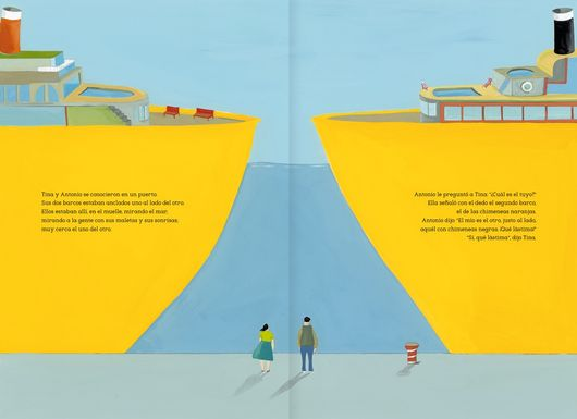 inside page shows two boats facing each other