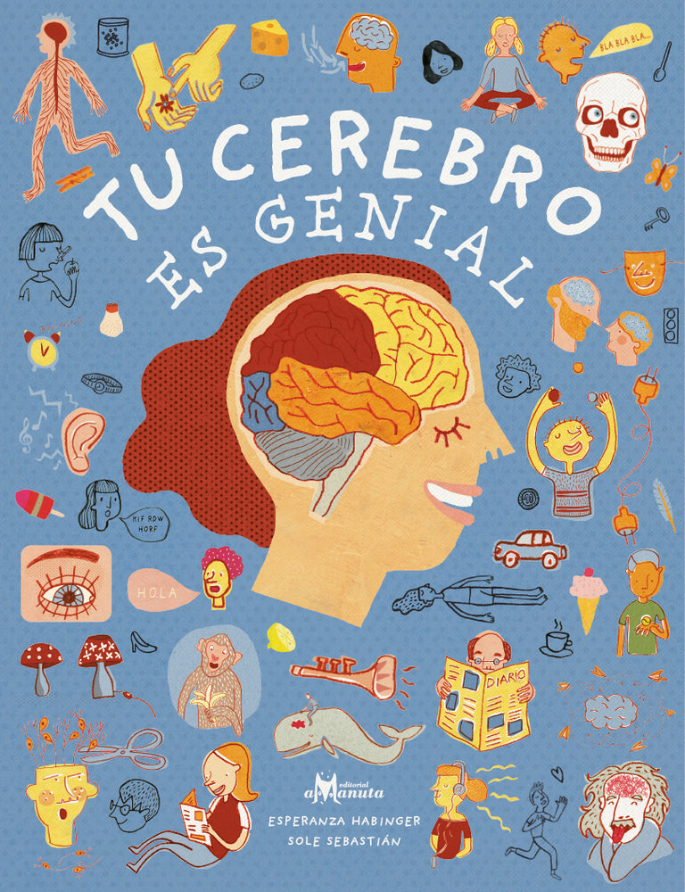 book cover illustrates different parts of a brain and various objects outside