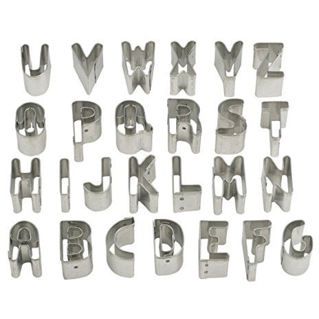 Mrs. Anderson's Baking Alphabet Cookie and Fondant Cutters, 1-Inch Tall, 26-Piece Set with Storage Tin
