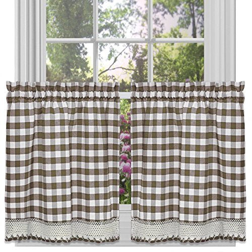 Achim Home Furnishings Buffalo Check Tier Pair, 58-Inch by 36-Inch, Taupe