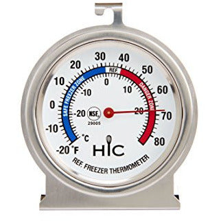 HIC Roasting Refrigerator Freezer Thermometer, Large 2.5-Inch Easy-Read Face with Safe Temperature Guide, Stainless Steel