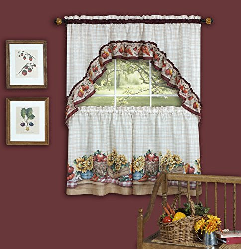 Achim Home Furnishings Farmer's Market Tailored Tier Pair and Swag Set, 57 by 36