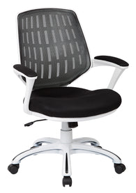 AVE SIX Calvin White Frame Mesh Office Chair with Arms, Black