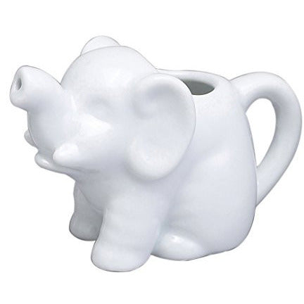 Harold Import Company Elephant Creamer Coffee Tea Milk Syrup Dressing Server with Handle, 2 oz, Fine White Porcelain