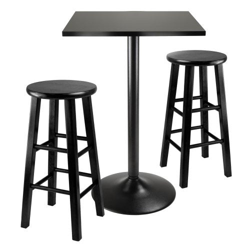 3pc Counter Height Dining Set, Black Square Table Top and Black Metal Legs with 2 Wood Stools
