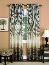 Achim Home Furnishings Kenya Curtain Panel, 50-Inch by 63-Inch, Brown
