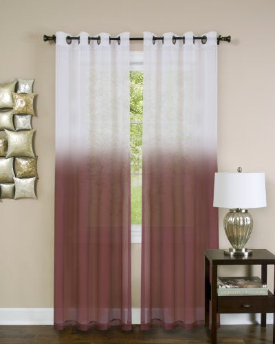 Achim Home Furnishings Essense Grommet Window Curtain Panel, Burgundy, 52 x 84-Inch