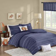 Oliver Duvet Cover Set-Navy-Full/Queen