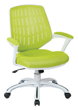 AVE SIX Calvin White Frame Mesh Office Chair with Arms, Green