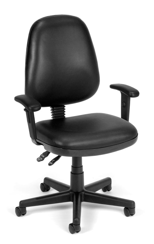 COMPUTER TASK CHAIR W/ARMS-BLACK VINYL