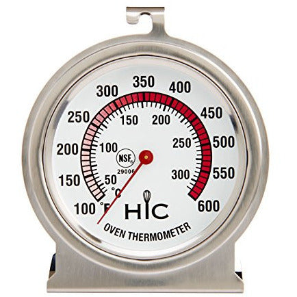 HIC Roasting Oven Thermometer, Large 2.5-Inch Easy-Read Face, Stainless Steel