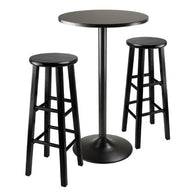3pc Round Black Pub Table with two 29