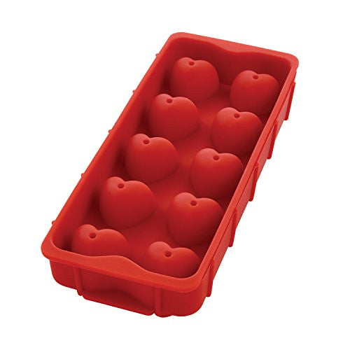 HIC Heart Ice Cube Tray, Candy and Baking Mold, European-Grade Heat-Resistant Silicone, Makes 10 Heart-Shaped Ice Cubes, 1.25-Inch x 1.25-Inch x 1.5-Inch