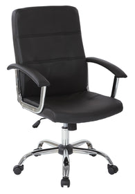 AVE SIX Malta Faux Leather Office Chair With Arms and Locking Tilt, Black