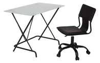 2-Piece Desk and Chair Set with Frosted Tempered Glass top and Black PVC covered seat and back Chair