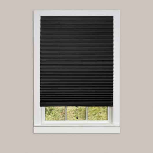 1-2-3 Vinyl Room Darkening Window Pleated Shade - Black - 48x75 6 Pack