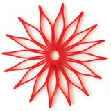 Blossom Multi-Purpose Flower Shaped Silicone Trivet, Hot Pad and Coaster; 8.75-Inches; Red; Microwave Safe