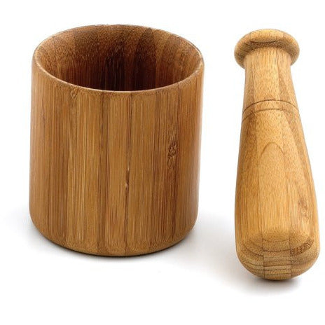 Helen Chen's Asian Kitchen 4-inch Caramelized Bamboo Mortar and Pestle Set