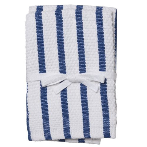 HIC 14- by 14-inch Royal Blue Stripe Casserole Dish Cloth, Set of 2