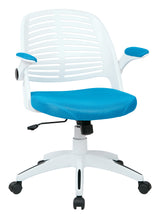AVE SIX Tyler Office Chair with Arms and White Frame, Blue
