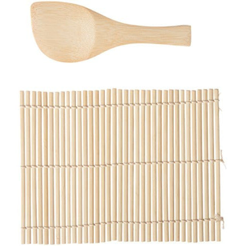 HIC Harold Import Co. 2 Piece Helen Chen's Asian Kitchen Easy Sushi Rolling Mat with Rice Paddle Kit, Natural Bamboo